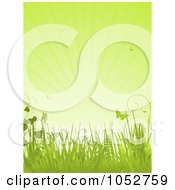 Royalty Free Vector Clip Art Illustration Of A Vertical Green Spring Background Of Butterflies Grasses And Rays