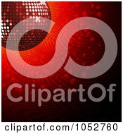 Royalty Free Vector 3d Clip Art Illustration Of A 3d Shiny Red Disco Ball Background Over Red Halftone