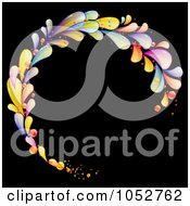 Circular Frame Of Colorful Lava Drops On Black