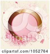 Royalty Free Vector Clip Art Illustration Of A Pink Background Of A Gold Circle Frame With Pink Flowers And Splatters by elaineitalia