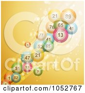 Royalty Free Vector Clip Art Illustration Of 3d Bingo Balls Over A Sparkly Golden Yellow Background