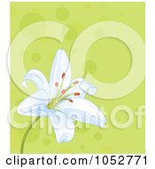 Royalty Free Vector Clip Art Illustration Of A Green Polka Dot Background With A White Easter Lily