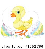 Royalty Free Vector Clip Art Illustration Of A Cute Easter Duckling by Pushkin