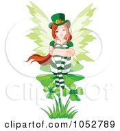 Royalty Free Vector Clip Art Illustration Of A St Patricks Day Fairy Sitting On A Shamrock by Pushkin