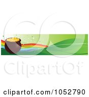 Royalty Free Vector Clip Art Illustration Of A Pot Of Gold And Rainbow Hat St Patricks Day Banner by Pushkin