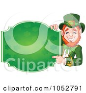 Royalty Free Vector Clip Art Illustration Of A Friendly Leprechaun Holding A Blank St Patricks Day Sign by Pushkin