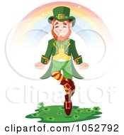 Royalty Free Vector Clip Art Illustration Of A Leprechaun Dancing Under A Rainbow by Pushkin