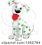 Royalty Free Vector Clip Art Illustration Of A Clover Spotted St Patricks Day Dalmatian Dog by Pushkin