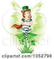 Royalty Free Vector Clip Art Illustration Of A St Patricks Day Fairy Sitting On A Clover