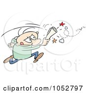 Royalty Free Vector Clip Art Illustration Of A Toon Guy Chasing A Fly With A Rolled Up Paper