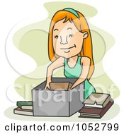 Royalty Free Vector Clip Art Illustration Of A Woman Storing Old Books by BNP Design Studio
