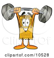 Yellow Admission Ticket Mascot Cartoon Character Holding A Heavy Barbell Above His Head