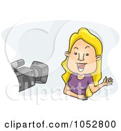 Royalty Free Vector Clip Art Illustration Of A Camera Pointed At A Blond Woman
