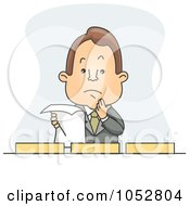 Royalty Free Vector Clip Art Illustration Of A Businessman Holding A Document By Filing Boxes by BNP Design Studio