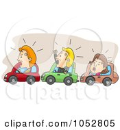 Royalty Free Vector Clip Art Illustration Of Angry Commuters Stuck In Traffic by BNP Design Studio