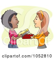 Royalty Free Vector Clip Art Illustration Of Women Exchanging Books