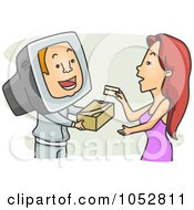 Royalty Free Vector Clip Art Illustration Of A Woman Purchasing Online by BNP Design Studio