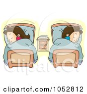 Royalty Free Vector Clip Art Illustration Of A Couple Sleeping In Separate Beds by BNP Design Studio
