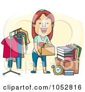 Royalty Free Vector Clip Art Illustration Of A Woman Organizing A Garage Sale