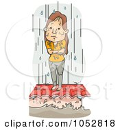 Royalty Free Vector Clip Art Illustration Of A Cold Woman Standing In Ran On A Roof During A Flood