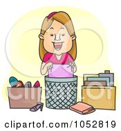 Royalty Free Vector Clip Art Illustration Of A Woman Organizing And De Cluttering by BNP Design Studio