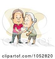 Royalty Free Vector Clip Art Illustration Of A Man Helping A Senior Woman