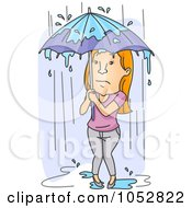 Royalty Free Vector Clip Art Illustration Of A Woman Standing In The Pouring Rain