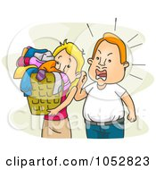 Royalty Free Vector Clip Art Illustration Of A Mean Husband Yelling At His Wife To Do Laundry