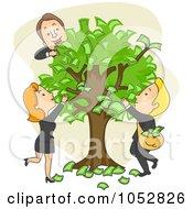 Royalty Free Vector Clip Art Illustration Of Business People Pulling Cash Off Of A Money Tree by BNP Design Studio