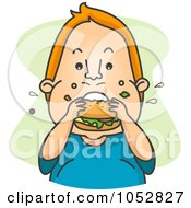 Royalty Free Vector Clip Art Illustration Of A Chubby Man Eating A Hamburger