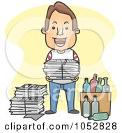 Royalty Free Vector Clip Art Illustration Of A Man Recycling Glass And Newspapers by BNP Design Studio
