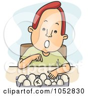 Royalty Free Vector Clip Art Illustration Of A Man Counting Eggs