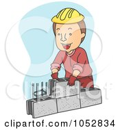 Royalty Free Vector Clip Art Illustration Of A Mason Setting Blocks by BNP Design Studio
