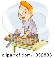Royalty Free Vector Clip Art Illustration Of A Man Sawing Wood by BNP Design Studio