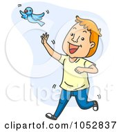 Royalty Free Vector Clip Art Illustration Of A Man Chasing A Happiness Blue Bird