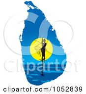 Royalty Free Vector Clip Art Illustration Of A Pole Fisherman On A Sri Lanka Map