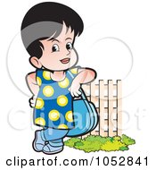 Royalty Free Vector Clip Art Illustration Of A Girl With A Purse By A Fence