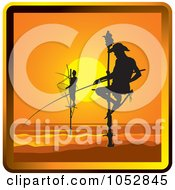 Royalty Free Vector Clip Art Illustration Of Pole Fishermen In Sri Lanka by Lal Perera