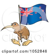 Royalty Free Vector Clip Art Illustration Of A Kiwi Bird With A New Zealand Flag 2 by Lal Perera #COLLC1052846-0106