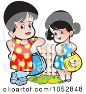 Royalty Free Vector Clip Art Illustration Of Girls With Purses