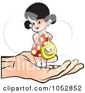 Royalty Free Vector Clip Art Illustration Of A Hand Holding A Girl With A Purse