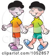 Royalty Free Vector Clip Art Illustration Of Two Boys Holding Hands
