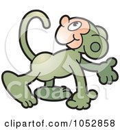 Royalty Free Vector Clip Art Illustration Of A Walking Monkey by Lal Perera