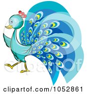 Royalty Free Vector Clip Art Illustration Of A Blue Peacock by Lal Perera