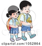 Royalty Free Vector Clip Art Illustration Of School Kids Carrying Flowers 2 by Lal Perera