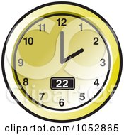 Royalty Free Vector Clip Art Illustration Of A Gold Wall Clock 2 by Lal Perera