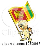 Royalty Free Vector Clip Art Illustration Of A Lion Holding A Sri Lanka Flag