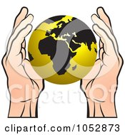 Royalty Free Vector Clip Art Illustration Of Hands Around A Gold Globe