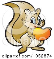 Royalty-Free Vector Clip Art Illustration of a Squirrel Eating A Mango by Lal Perera