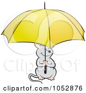 Royalty Free Vector Clip Art Illustration Of A Mouse Holding A Yellow Umbrella by Lal Perera